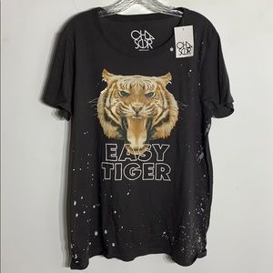 NWT Chaser Easy Tiger Graphic Short Sleeve T-shirt